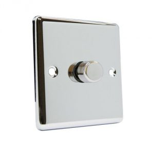 TRIAC-compatible LED rotary dimmer (polished chrome finish)