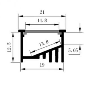 Recessed Internal-Angle LED profile - dimensions