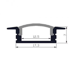 Shallow recess LED profile - dimensions