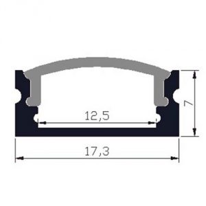 Thin surface-mounted LED profile - dimensions