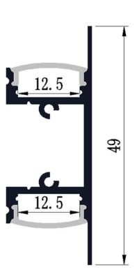 Up-Down Wall LED profile - dimensions
