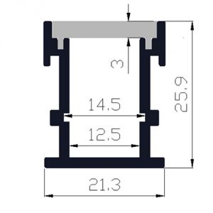 Walkover LED profile - dimensions