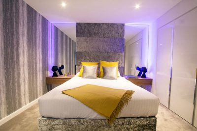 RF LED colour control in a bedroom installation