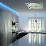 5-watt blue LEDs add dining-area cool ambiance between meals