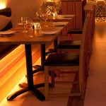 Restaurant bench seating with 5W amber downlights