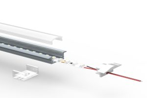 Shallow recess LED extrusion - split view