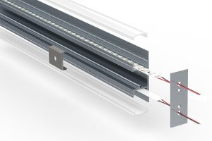 Up-down wall LED extrusion - split view
