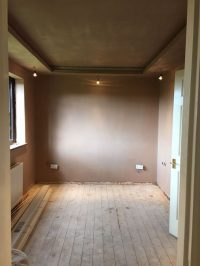 The bedroom stripped, ready for refurbishment