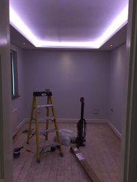 Coffer ceiling effect with RGBW LEDs installed