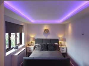 Bedroom RGBW LEDs in coffer ceiling - view 1
