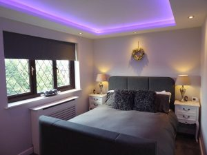 Bedroom RGBW LEDs in coffer ceiling - view 2