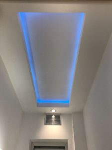 Cloakroom coffer ceiling - ready for tiling