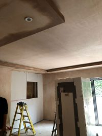 Detail of front room coffer-effect ceiling under construction