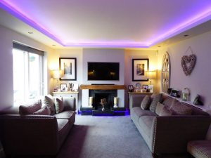 The finished front room - RGBW LEDs set to mauve