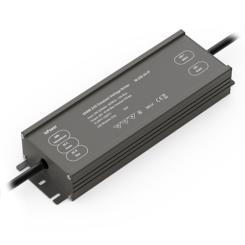 Water-resistant 250-watt transformer for LEDs (IP67-rated)
