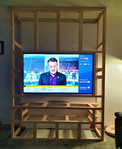 Building the frame - testing TV installation 1