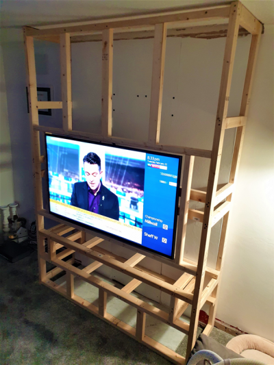 Building the frame - testing TV installation 2