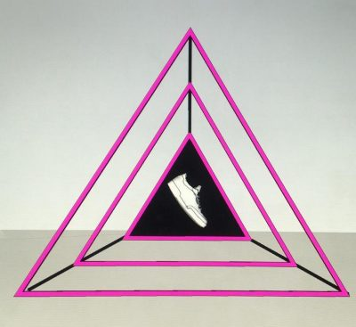 A completed triangular display frame (pink LEDs)