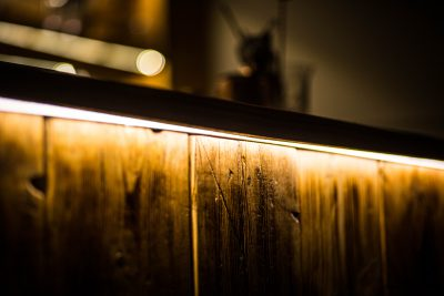 LED feature lights under bar counter-top