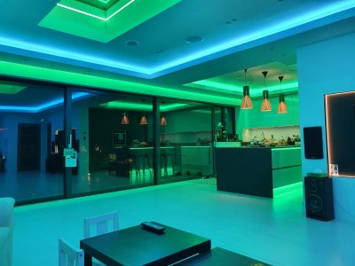 20-watt colour-changing RGBW LEDs create a beautiful an unique home kitchen
