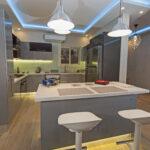 Modern kitchen in a luxury apartment