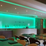 Football club directors' lounge - green lights